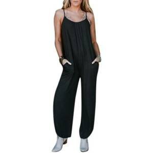 Ladie Holiday Sleeveless Casual Jumpsuit Playsuit Loose Romper Dungarees Overall