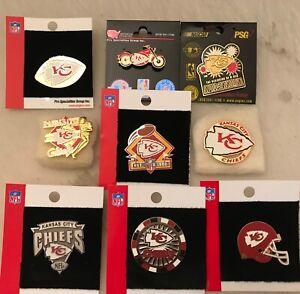Set of 9 Kansas City Chiefs Logo Collector Pins