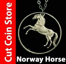 Norway Krone Fjord Horse Jewelry Pendant Necklace One Krone by Cut Coin Store