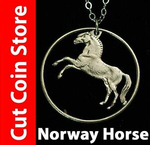 Norway  Fjord Horse One Krone Jewelry Pendant Necklace Krone by Cut Coin Store