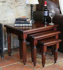 La Roque solid mahogany living room home furniture nest of three coffee tables