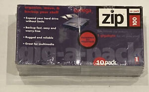 NEW Iomega ZIP DISCS Gig-a-Pack 10 pack 100MB for PC 1GB for Apple Macintosh