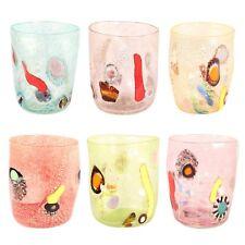 Bicchieri vetro murano set 6 murrina millefiori uso quotidiano idea regalo
