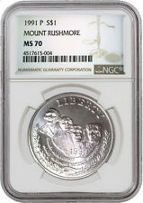 1991 P $1 Mount Rushmore Commemorative Silver Dollar NGC MS70