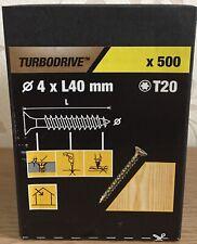 TURBODRIVE T20 WOOD SCREWS 4 X 40 MM ( 500 PACK)
