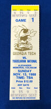 1988 GEORGIA TECH VS YUGOSLAVIA COLLEGE BASKETBALL FULL TICKET STUB