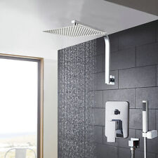 "Chrome Bathroom 8"" Rain Bath Shower Faucet Set Mixer Tub Tap with Hand Sprayer"