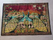 "VINTAGE TURKISH TAPESTRY WALL ILLUSTRATED TWIN PEACOCKS 71 1/2"" x 41"""