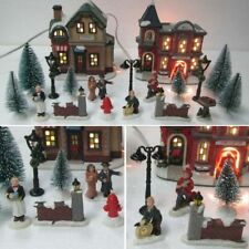 Christmas Village Set Fire Station Cafe Trees Lampposts Miniature Town Prop 20PC