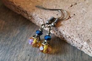 Crystal glass dangle earrings AB Topaz Metallic Blue Dainty Bronze Small
