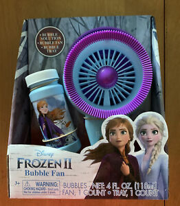 Disney Frozen 2 Electric Bubble Fan W/ Bubble Solution & Bubble Tray Ages 3+ (VS