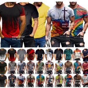 Men Funny 3D Print T-Shirt Casual Short Sleeve Tops Male Tee Streetwear Fashion