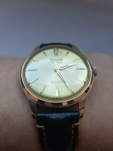 Pallas Deluxe. 21rubis Incabloc, Antimagnetic.Swiss made.Rose gold filled 70s,