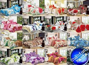Duvet cover set Double King Quilt cover 3D 2 Pillow Cases Bedding Floral NEW