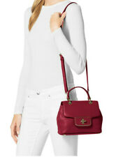 Michael Kors Emery Cherry Red Leather Turn Lock Satchel Crossbody Bag