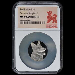 Niue $1 Silver 2018 German Shepherd Head Shape NGC MS 69 Antiqued Low Mintage