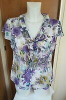 Per Una Marks & Spencer Womens Purple Floral Cotton Blouse Size 12 Frill Front