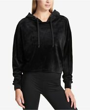 DKNY Sport Plush Velour Hoodie Women Black Size-S; New with Tags