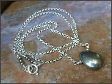 *PI*AAA Natural SMOOTH PYRITE BRIOLETTE pendant .925 SS Hill Tribe Silver!