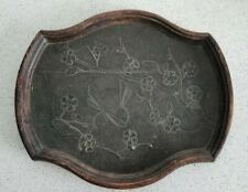 Antique Pewter Or Lead & Wood Arts & Crafts Dragonfly With Blossom Tray