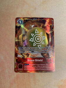 BT1-095 Brave Shield Alt Art Holo Rare English Digimon Card Game Bandai NM