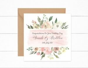 Personalised Wedding card Mr & Mrs Pink Lemon Floral Watercolour Wedding Day