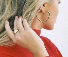 REDUCED    Women's Big Hollow Double Heart Earrings Hoop Dangle  Silver