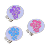 New 3Pcs Golf Ball Marker with Magnetic Hat Clip Cute Flower Patterns