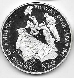 2000 Proof Liberia $20 .999 Silver History of America Victory Over Japan 1945