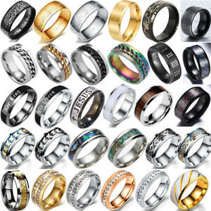8mm Mens Black Silver Stainless Titanium Steel Ring Wedding Engagement Band Ring