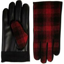 Isotoner Mens Sleek Heat Faux Leather Plaid Driving Gloves Red XL