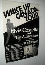 "Rare Vtg 1978 Elvis Costello Wake Up Canada Tour Poster! 23.5"" x 35.25""!"