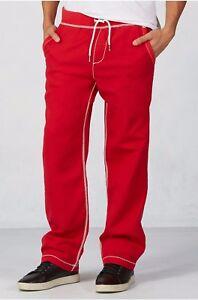 True Religion Mens Contrast Big T Wide Leg Sweatpants/Pants - M9FB197NQ9 Sz XXL