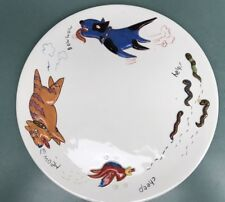 "Studio Nova China Food Chain Worm Bird Cat Dog 12"" Platter Round Nwt"