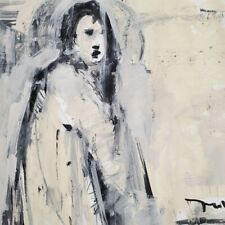 """JOSE TRUJILLO - Expressionism Acrylic Painting on Paper 30x30"""" Figure Abstract"""