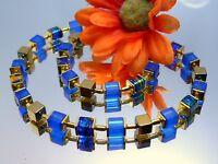 Halskette Würfelkette Würfel Glas royal blau matt mehrfarbig Hämatit gold 095y