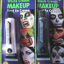 Halloween Black & White Face Paint Fancy Dress Zombie Vampire Cream Make Up tube