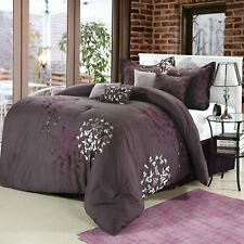 Cheila Plum Comforter Bed In A Bag Set - King 8 Piece