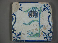 Polychrome Antique Dutch Baluster flower tile 17th - free shipping