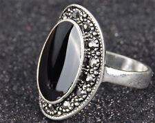 Tibetan Silver Vintage Retro Statement Ring Black Stone Size M N O P R S Q S T