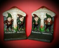 """VINTAGE ~BRADLEY & HUBBARD~""""NO EVIL""""~GNOME~CAST IRON~ """"MARKED"""" BOOKENDS"""