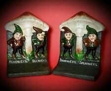 "VINTAGE ~BRADLEY & HUBBARD~""NO EVIL""~GNOME~CAST IRON~ ""MARKED"" BOOKENDS"