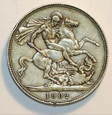1902 Edward VII Currency Issue Sterling Silver Crown Very Fine Condition