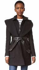 $690 L Mackage Siri Black Wool Leather Belt Wrap Womens Shawl Collar Coat NEW