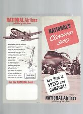 National Airlines 50s  Convair 340 leaflet w/seat map