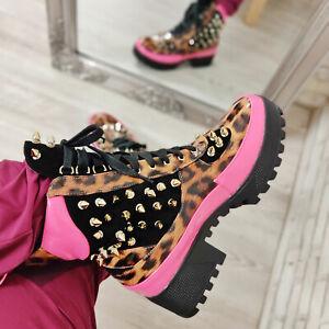 Women's Shoes Boots Combat Boots Studs Leopard Rubber Sole Toocool Q2AX1946-6
