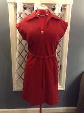 "Vintage ""rrrruss"" Maroon Red 1970's Shift Dress Large Collar Matching Belt Sz 12"