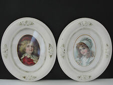 Victorian Children (Girl and Boy) -Artwork Reproduction (2) Print's-Oval FRAMED!