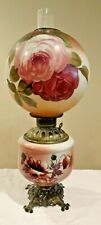 Victorian Parlor Gwtw Gone With The Wind Banquet Lamp Puffed Roses - Electrified