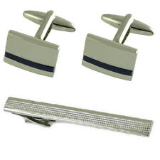 Blue Lapis Silver Cufflinks Gift Set With Tie Clip 65Mm